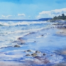 Nancy McLean Watercolours Beach at Little River Harbour