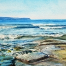 Point-Aconi-Shoreline-Low-Tide-NMcLean-Watercolours